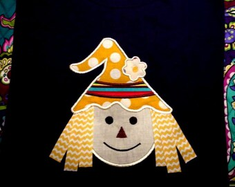 Scarecrow applique design download - 5x7 and 6x10 hoop sizes - Add ribbon for hair!