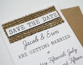 Rustic Kraft, White, Burlap and Pearl Save The Date Card