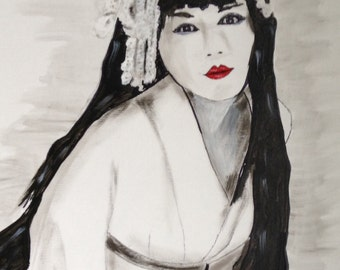 Abstract Black and White Painting of Geisha Girl