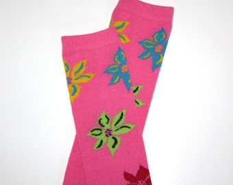 Pink Floral Baby Toddler Leg Warmers