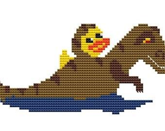 Counted Cross Stitch, Cross Stitch Pattern Chart Instant PDF Download Duck Dinosaur T-Rex Costume NeedleCraft Design
