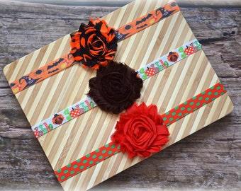 Halloween Thanksgiving Christmas 3 Headband Set Holiday Flower Newborn Baby Girl Toddler Gift