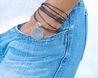 Boho LEATHER Wrap Bracelet w/ Antique Silver Disc -Tibetan Style Triple Wrap Bracelet - With Silver Extension Dangle -  ADD A CHARM!