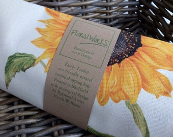 Sunflower print eco friendly cotton canvas shopping bag