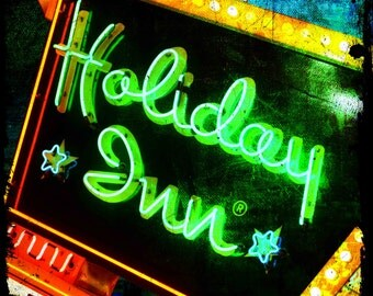 "Holiday Inn Marquee sign photograph on 30"" x 30"" canvas"
