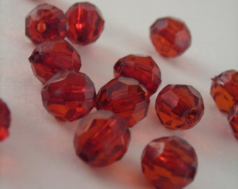 Raspberry Red 8mm Faceted Round Acrylic Beads, DE001