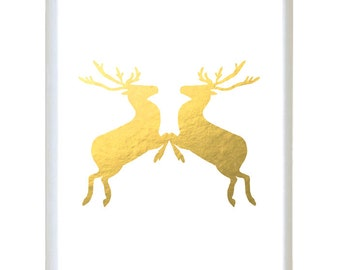 Gold Foil Two Twin Deer Reindeer Holiday Christmas  - Word Quote Art  - Minimalist Art - Poster Wall Art Card Home Decor Typography