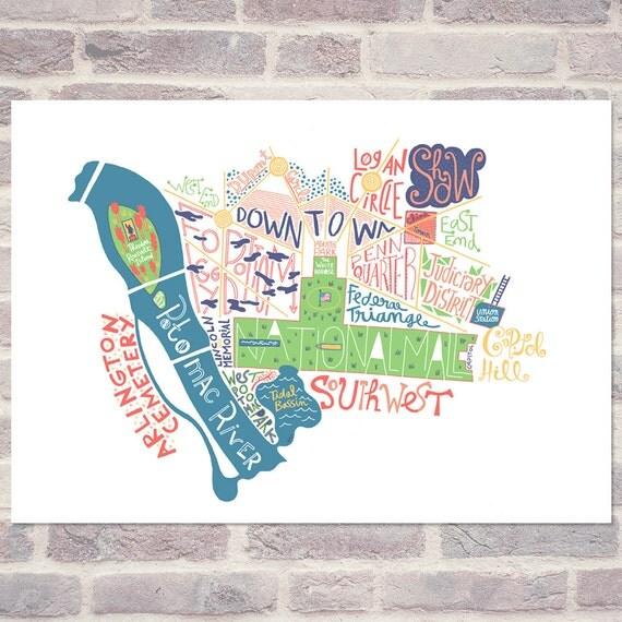 Washington dc Map Poster Washington dc Map Travel Art