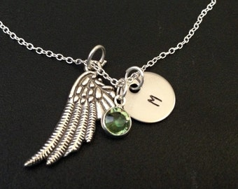 Angel Wing pendant Necklace - Personalized Birthstone and initial