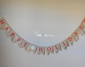 HAPPY HOLIDAYS burlap banner /Holiday Photo props / Christmas banner / Christmas home decor / Happy Holidays bunting / christmas sign