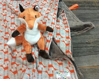 Minky Baby Blanket - Baby Fox Blanket - Custom Baby Blanket - Personalized Baby Blanket  - 100% Cotton - Gift Wrapped
