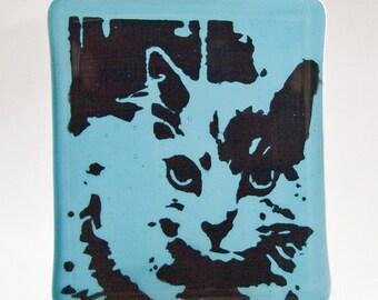 Fused Glass Night Light of Tabby Cat on Cyan Blue Glass