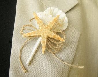 """Shell Boutonniere  """" Starfish"""", Wedding Sea Shell"""