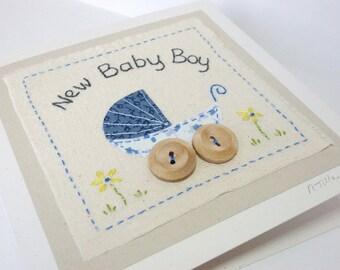 New Baby Card for Boy blue fabric pram with button wheels - keepsake card - textile art