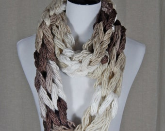 Chunky, Arm-Knit, Neutral/Brown/Beige/White Infinity Scarf