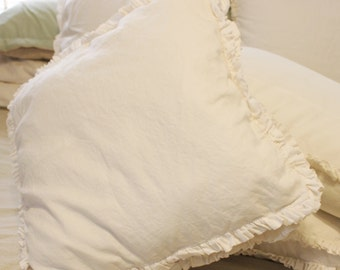 Cotton Double Ruffle Edge Pillow cover 20 X 20 with gusset