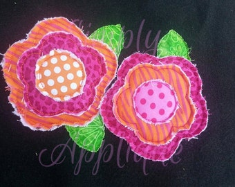 Instant Download Raggy Flowers Applique - FAST STITCH