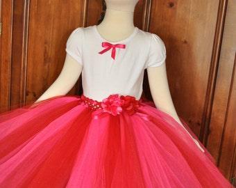 Girls Red Tutu Skirt,Baby Red Pink Tutu Skirt,Infant Pink Red Skirt, Red Pink Tutu, Toddler Red Pink Tutu