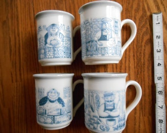British Shops 4 Cup Set, Bilton's Made in England, Fishmonger, Baker, Butcher's Shop, Green Grocer,Blue and White Kitchen, Christmas Kitsch