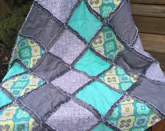 Baby Rag Quilt, In Turquoise, yellow, gray, lime and gray. Reverse side has charcoal gray minky for an extra luxious feel.Handmade Quilt!