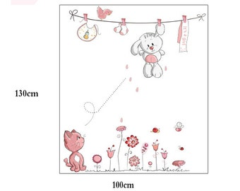 Bunny Nursery Kids Baby Girls Wall Decals / Wall Stickers - FREE DELIVERY (Australia Only) AW8352