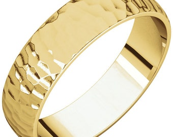 5mm Classic Hammered Wedding Band- 14k gold