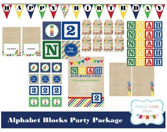 Alphabet Blocks Birthday Party Printable Package