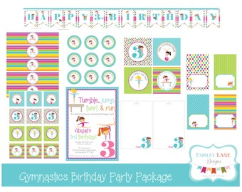 Gymnastics Birthday Party Printable Package, Gymnastics Birthday Party, Gymnastics Birthday, Tumbling, Tumble, Gym