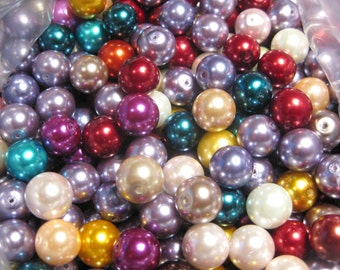 20pcs Mixed Glass Pearls Beads, 11mm-12mm round