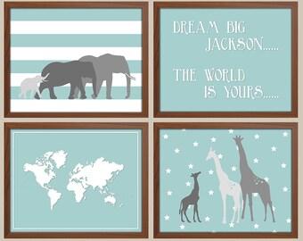 Kids world map etsy elephant nursery art giraffe nursery decor kids world map nursery quote baby sciox Choice Image