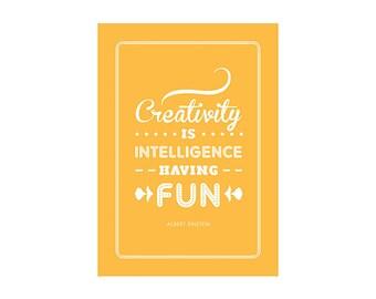 Einstein Creativity Typography Print