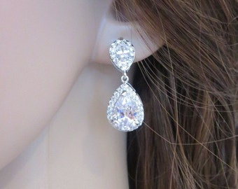 Bridal crystal earrings, Bridal teardrop earrings, Wedding earrings, Cubic zirconia earrings, Rhinestone earrings, Bridesmaid earrings