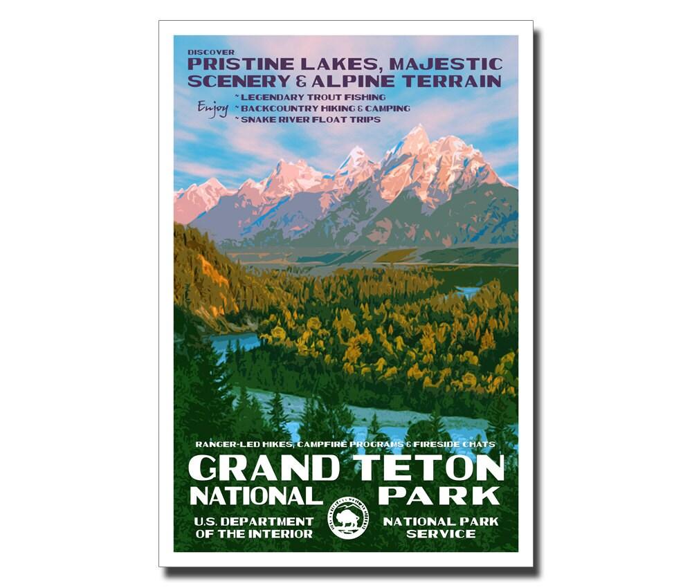 Grand Teton National Park Poster: Grand Teton National Park Poster WPA Style 13 X