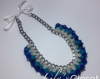 Shades of Blue crochet necklace