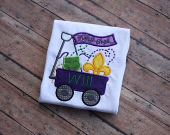 Mardi Gras wagon shirt with Name or Initials/monogram