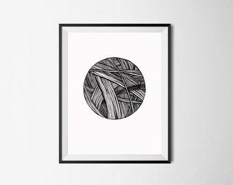 Knitting Art Print/ Ball of Wool/ Crochet Gift/ Yarn Art/ Knitting Wool/ Craft Room Wall Art/ Home Decor/ Knitting Graphics/ Abstract Art