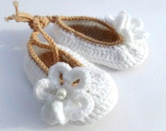 Crochet Ankle Tie Baby Girl Booties, Christening Baby Girl Booties, Knitted Baby Shoes
