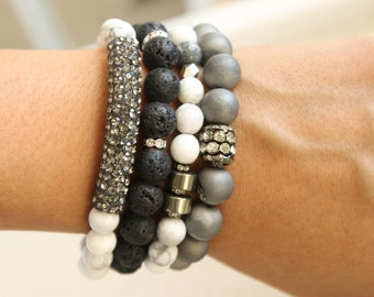 Faceted Howlite and Pyrite Bracelet. White Howlite and Pyrite Layering Bracelet.