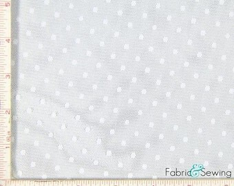 """White Point D'Esprit Mesh with Dot Fabric 2 Way Stretch Nylon  52-53"""""""