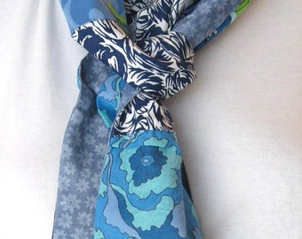 Fabric Scarf for Summer; Multi-Color Patchwork Scarf; Blue Cotton Scarf; Reversible Scarf; Hobo Scarf