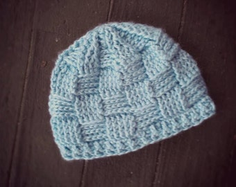 Handmade light blue colored basketweave patterned crochet hat (sized for infant) - TO BE NAMED