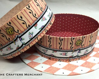 Decorative Hat Boxes, Black Cherry Hat Gift Box, Peach and Coral Harlequin Pattern Hat Box