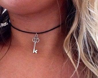 Silver Key Alice in Wonderland Choker Necklace