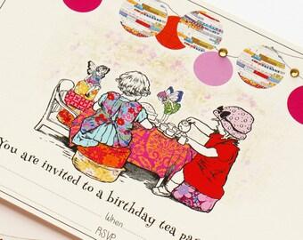 Digtial Birthday Invitation. Fairy Tea Party Fill-In Invitation