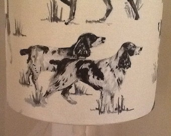 Handmade 20cm Drum Lampshade in a Working Dog Print Fabric.