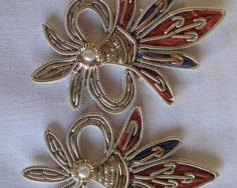 Vintage FLEUR DE LIS beaded applique - silver -  2 applique