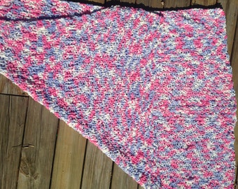 Hand knit bulky baby blanket. Pink, purple, and white