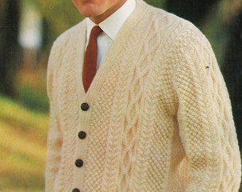 Mens aran style dk double knitting cable stitch cardigan  vintage knitting pattern PDF instant download