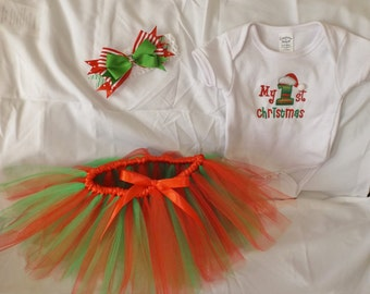 Baby first Christmas tutu outfit, My first christmas onesie outfit, Christmas tutu set, Christmas set headband with tutu