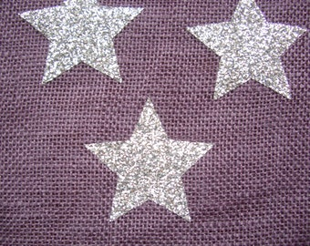 22 Star glitter iron-on appliques